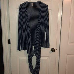 Sweaters - Heathered grey and navy blue wrap around cardigan